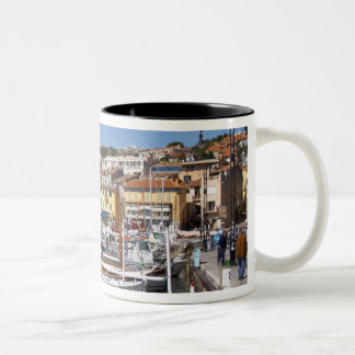 In the harbour in Cassis village. Fishing and Two-Tone Coffee Mug