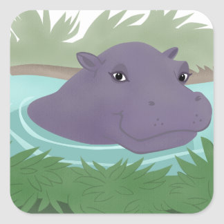 In the Hippo Pond Square Sticker