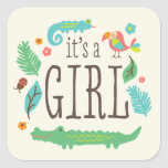 In the Jungle Baby Shower Stickers - Girl