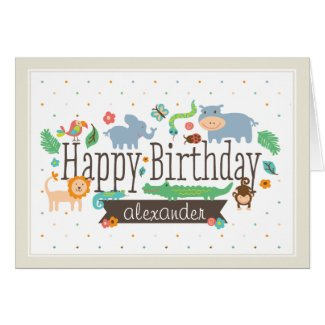 In the Jungle Kids Birthday Card