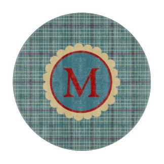 In the Kitchen Blue Plaid Monogram Cutting Board