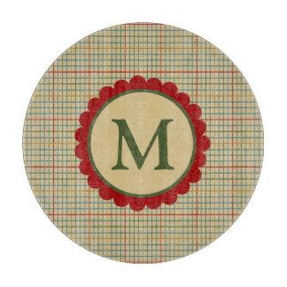 In the Kitchen Cream Plaid Monogram Cutting Board