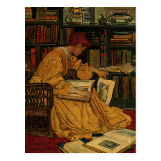 In the Library Postcard
