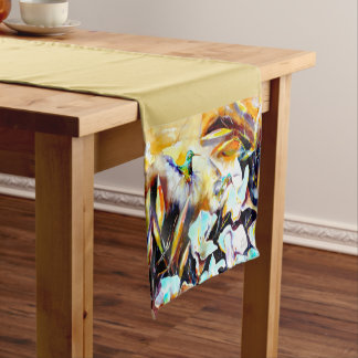 """In the Lilies"" Hummingbird Print Short Table Runner"