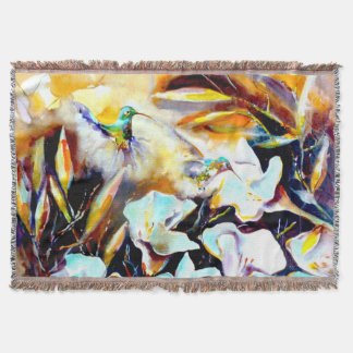 """In the Lilies"" Hummingbird Print Throw Blanket"