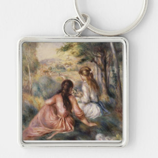 In the Meadow by Pierre Auguste Renoir Silver-Colored Square Key Ring