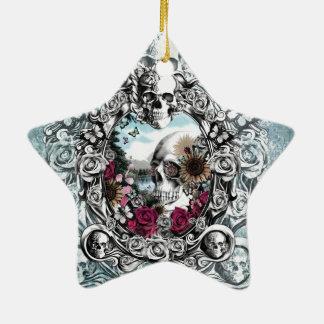 In the mirror landscape skull. christmas ornament