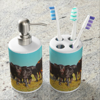 In the Mood for Hay Bath Set Retro Western Cattle