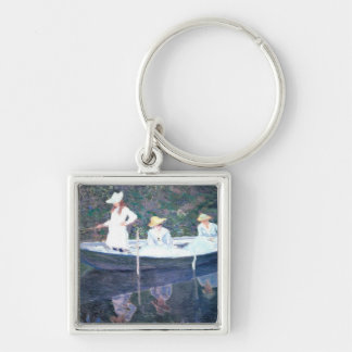 In the Norvegienne Boat at Giverny Silver-Colored Square Key Ring
