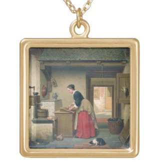 In the Pantry, 1868 (oil on panel) Gold Plated Necklace
