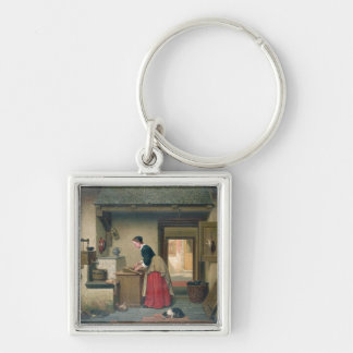 In the Pantry, 1868 (oil on panel) Silver-Colored Square Key Ring