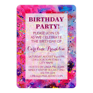 In the Pink Abstract-Art Birthday Invitations