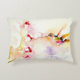 """In the Pink"" Hummingbird Print Decorative Cushion"