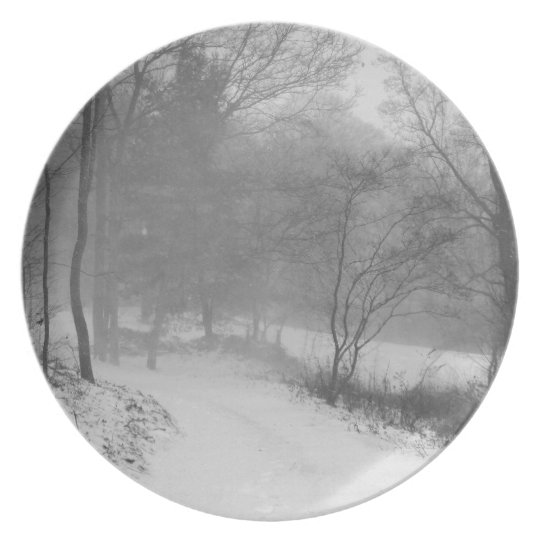 in the snowy woods plate