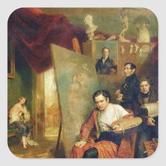 In the studio of the painter, 1832 square sticker