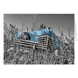 """In The Weeds""  Vintage Car Missing You Card"