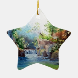 in the woods near the waterfall ceramic star decoration