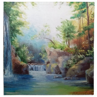 in the woods near the waterfall napkin
