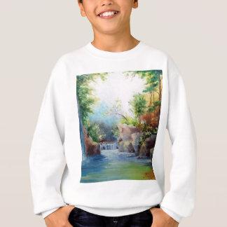 in the woods near the waterfall sweatshirt