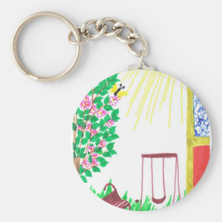 in the yard basic round button key ring