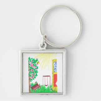 in the yard Silver-Colored square key ring