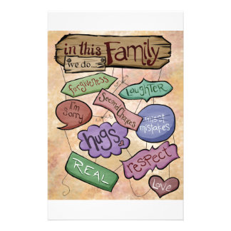 In This Family...Inspirational Quote Art Customized Stationery