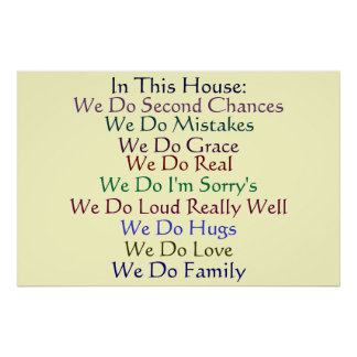 In This House Family Morals and Values Poster