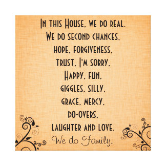 In this House We Do Family Quote Rules Stretched Canvas Print