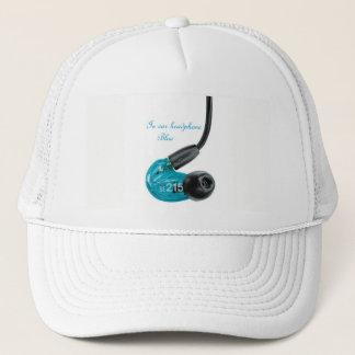 in to ear top headphone blue new trucker hat