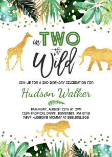 In Two The Wild Birthday Invitation Jungle Animals