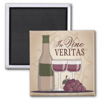 In Vino Veritas Wine Bottle Glasses & Grapes Magnet