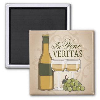 In Vino Veritas Wine Bottle Glasses & Grapes Fridge Magnet