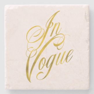 In Vogue Quote Faux Gold Foil Metallic Fashion Stone Coaster