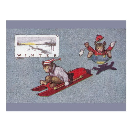 In Winter Teddy Bears Go Sledding Postcard