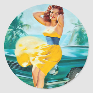 In Yellow Dress Pin Up Classic Round Sticker