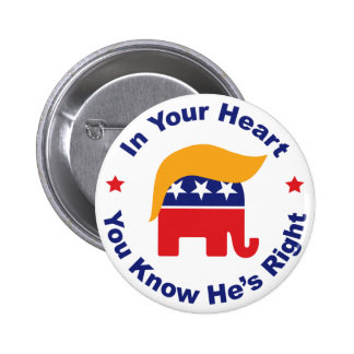 In Your Heart You Know He's Right - Donald Trump 6 Cm Round Badge