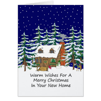 In Your New Home Christmas Cabin Greeting Card