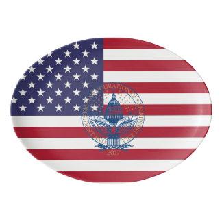 Inauguration Day 2017 Trump Logo American Flag Porcelain Serving Platter