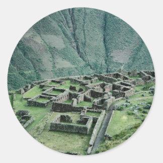 Inca ruins, Pisac, Peru Classic Round Sticker
