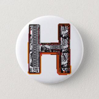 Inca`s font, Letter H 6 Cm Round Badge