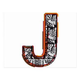 Inca`s font, Letter J Postcard