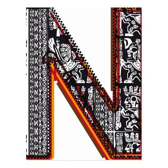 Inca`s font, Letter N Postcard