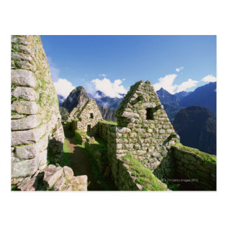 Incan ruins at Machu Picchu in the Andes Postcard