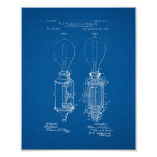 Incandescent Lamp Socket Patent - Blueprint Poster