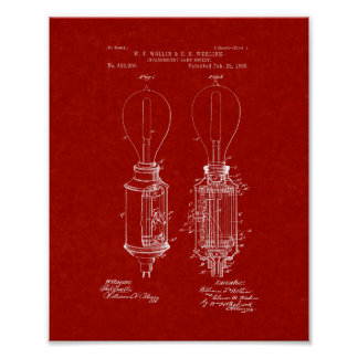 Incandescent Lamp Socket Patent - Burgundy Red Poster