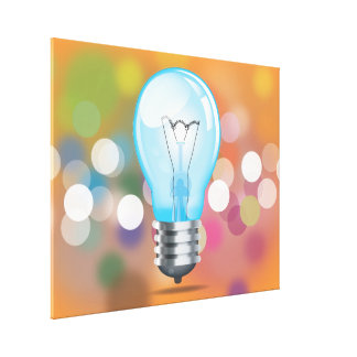 Incandescent light bulb stretched canvas print