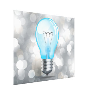 Incandescent light bulb stretched canvas prints