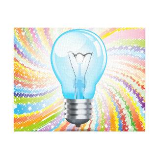 Incandescent light bulb stretched canvas prints