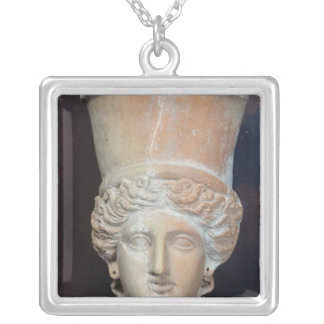 Incense burner of the head of a female silver plated necklace