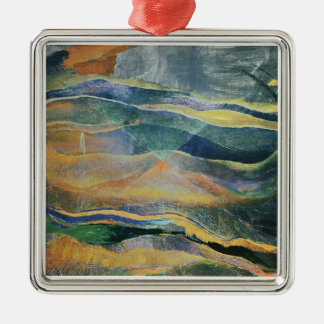 Incidents of Colours and Plains (tempera and penci Silver-Colored Square Decoration